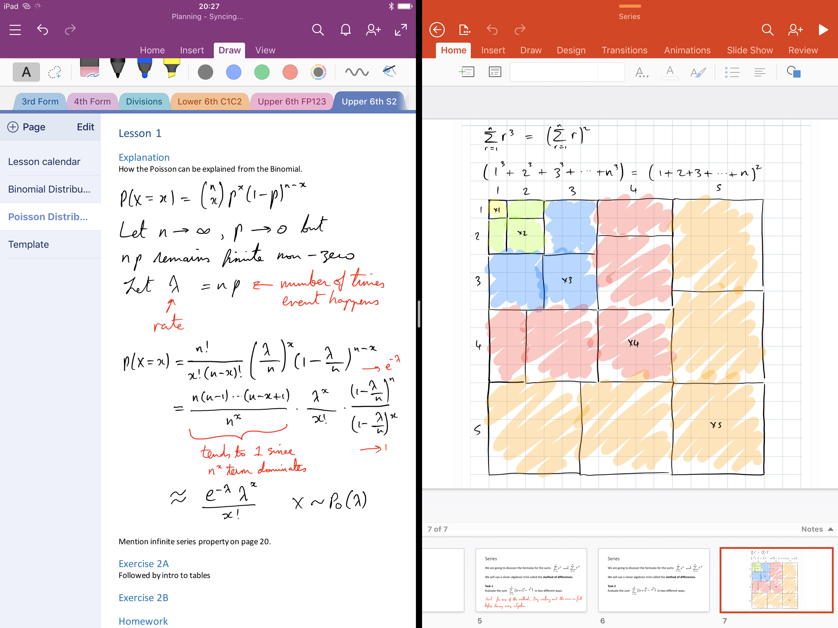 OneNote and Powerpoint in split screen multitasking