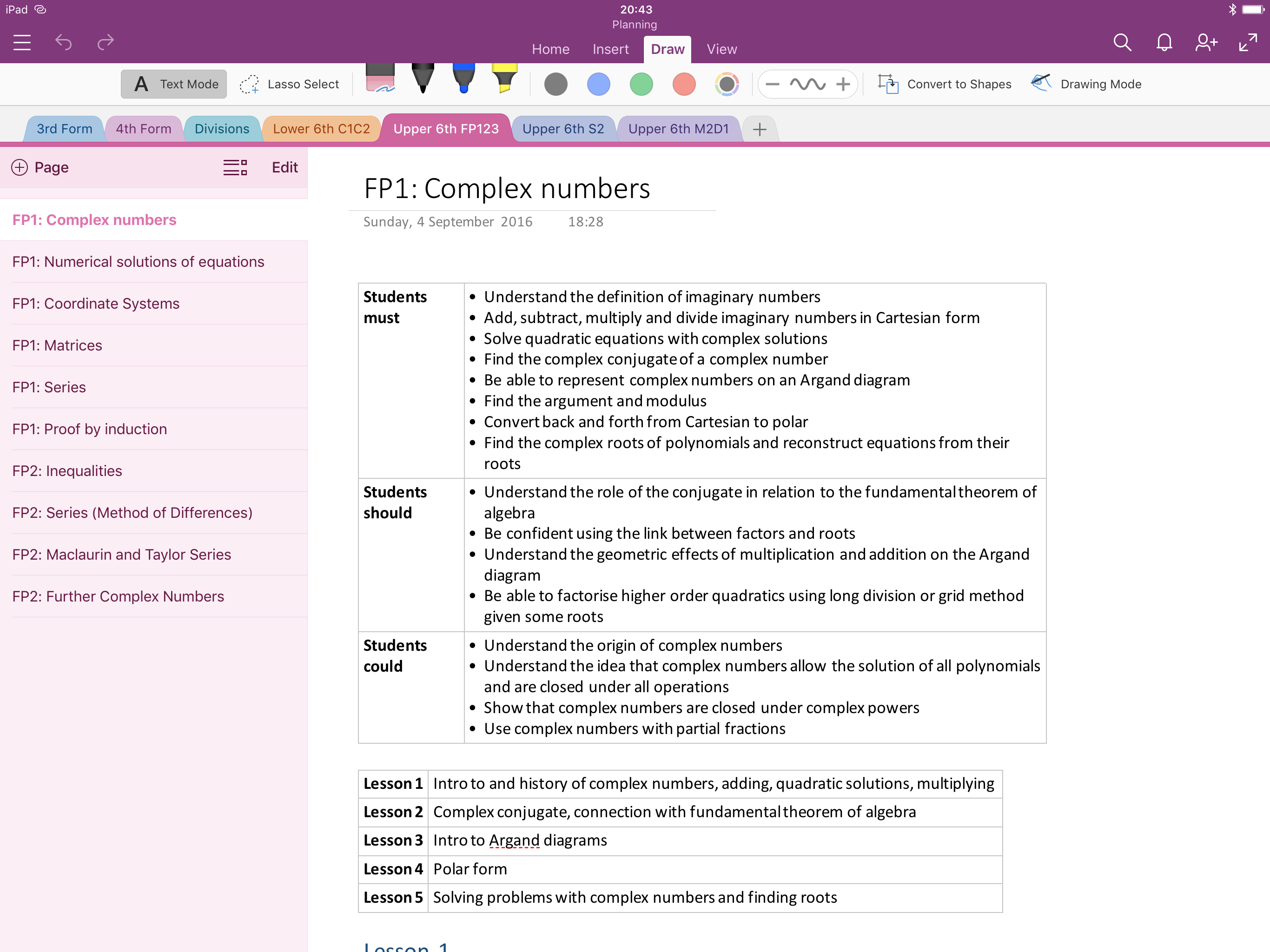 OneNote for lesson planning